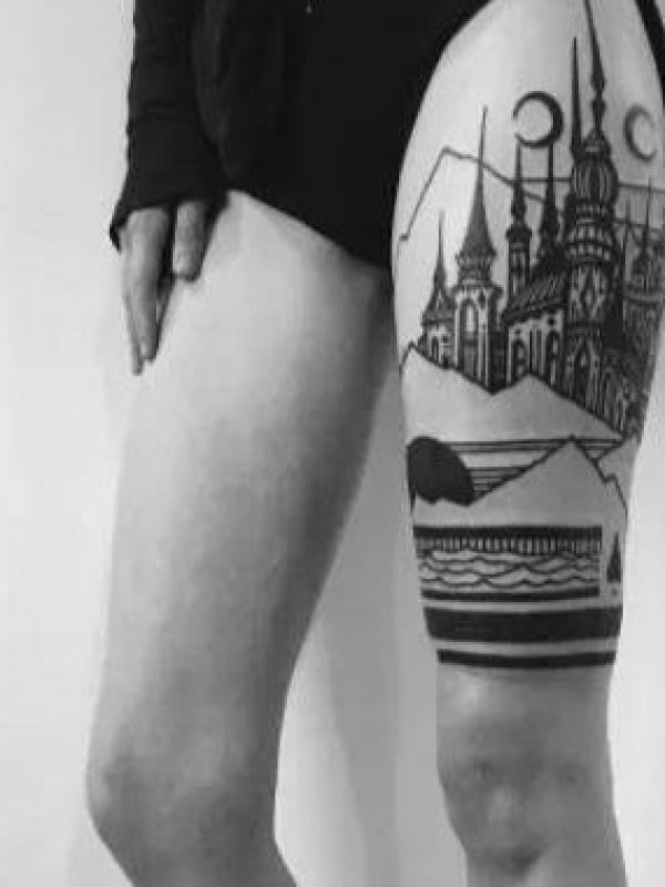 black and white and color tattoo 06